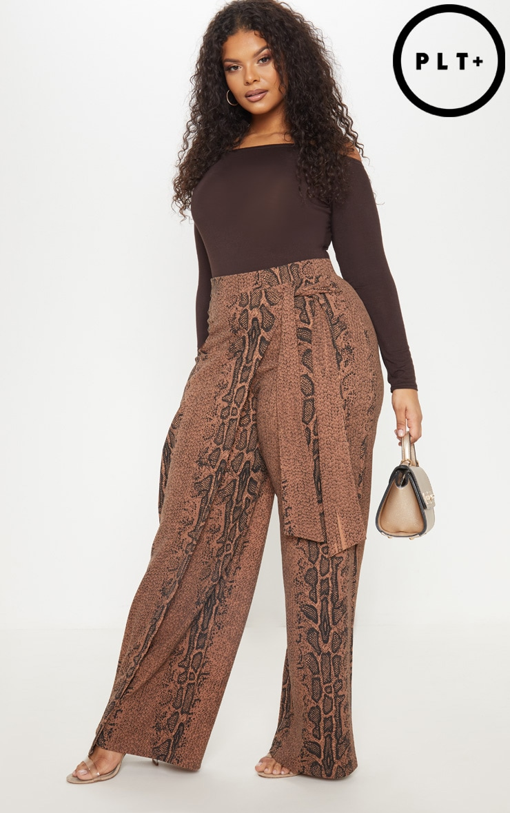 Plus Taupe Snake Print Wrap Detail Extreme Wide Leg Pants 1