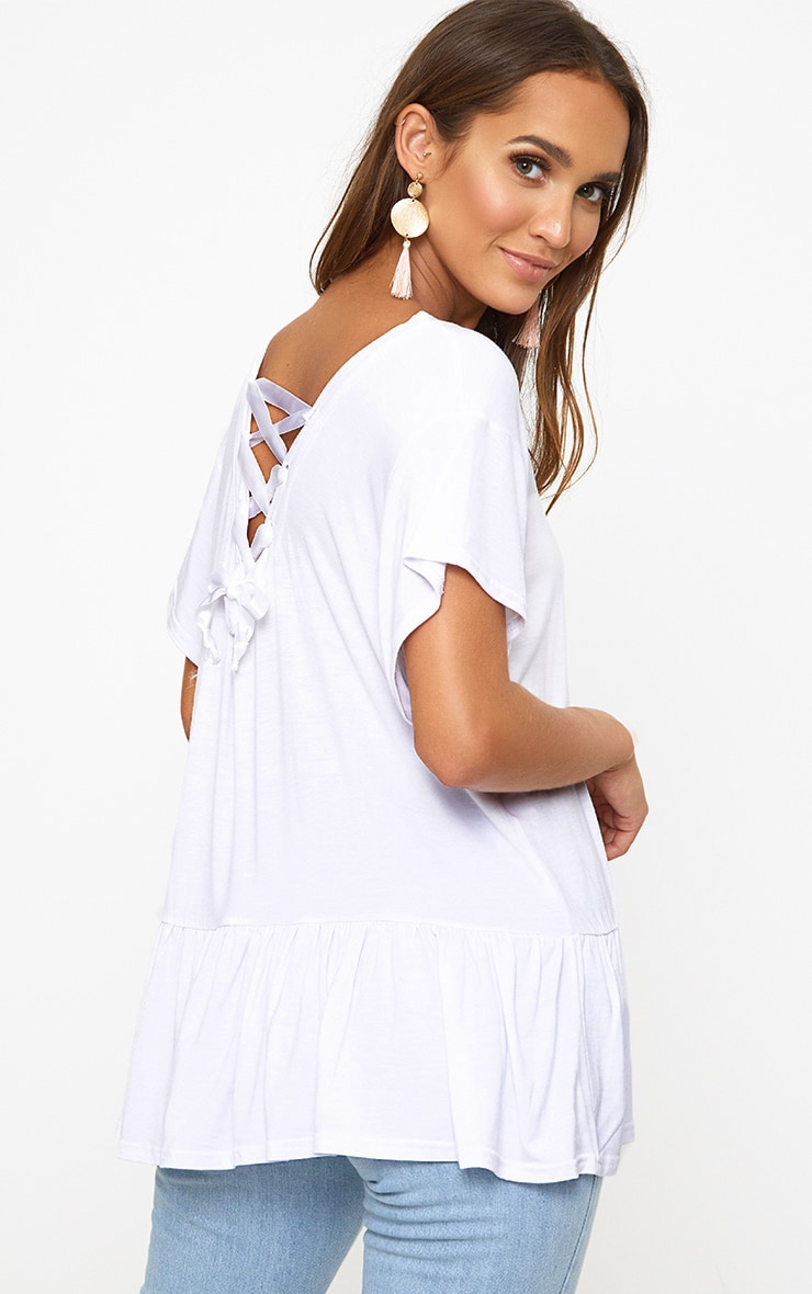 White Lace Up Back Frill Hem T Shirt 1