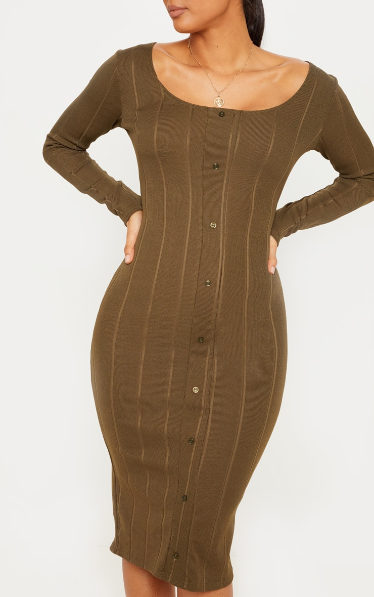 Khaki Wide Rib Button Front Midi Bodycon Dress 5