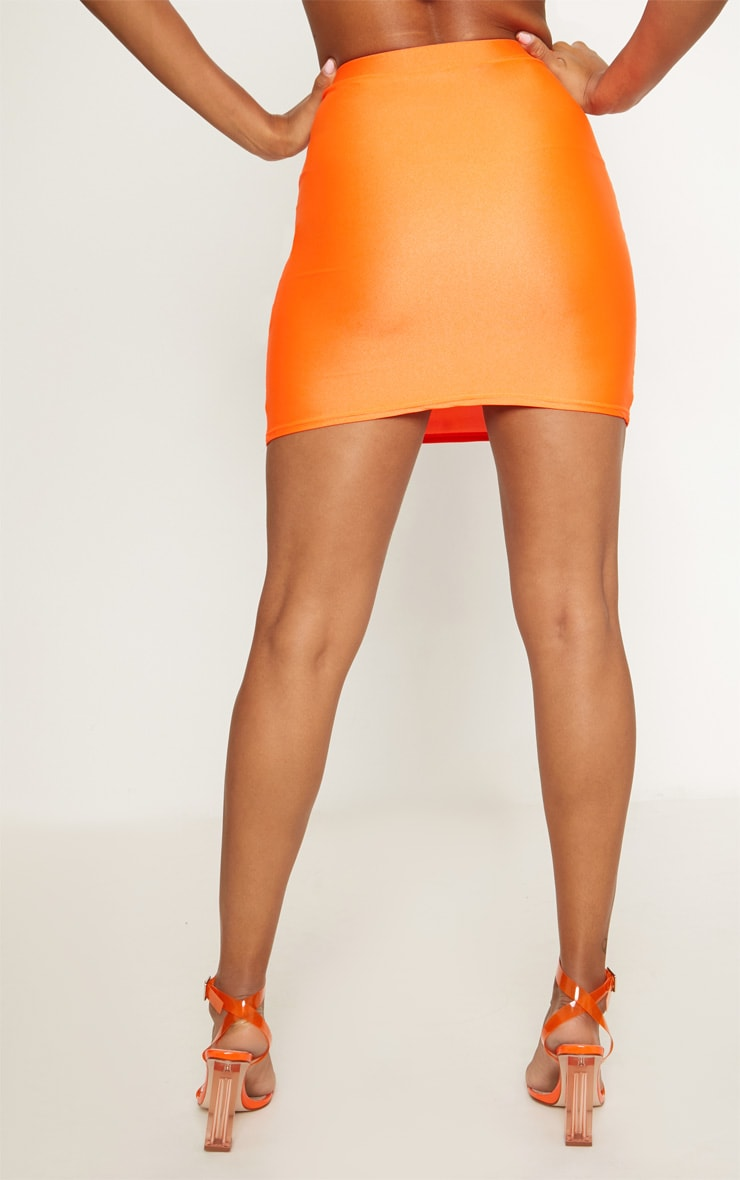 Neon Orange Disco Mini Skirt 4