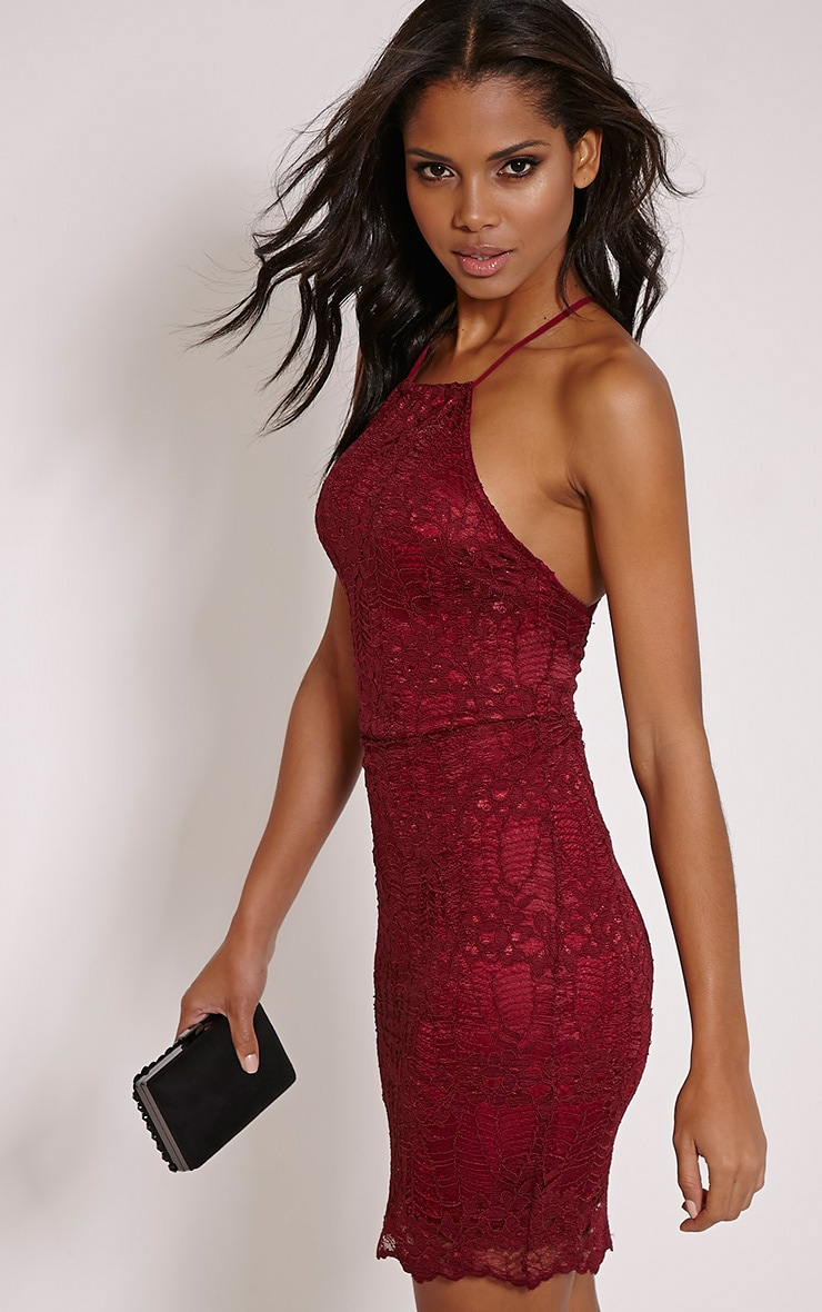 Kayah Burgundy Lace Halterneck Mini Dress 4