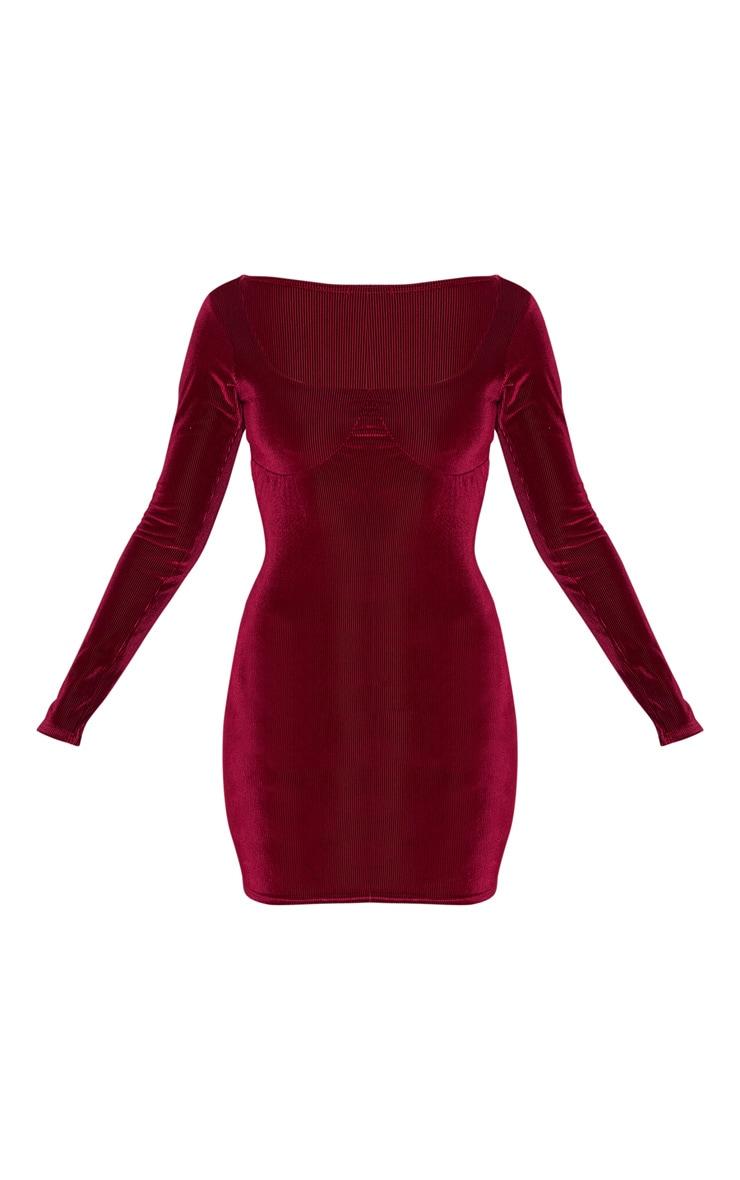 Burgundy Velvet Rib Cup Detail Long Sleeve Bodycon Dress 3