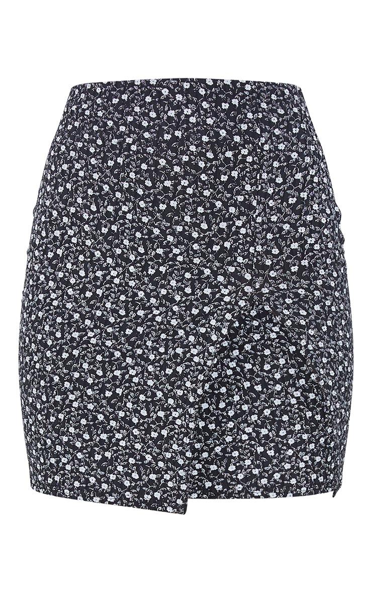 Multi Floral Print Rib Split Mini Skirt 6