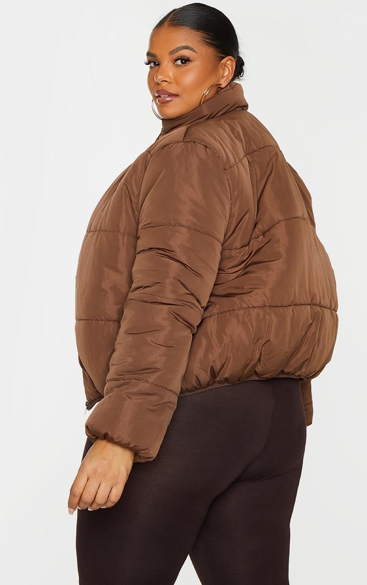 Plus Chocolate Brown Collar Detail Puffer Jacket 2