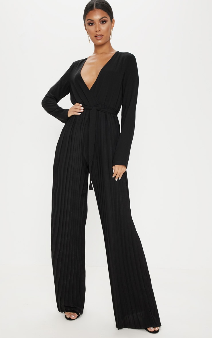 e931d0be9680 Black Pleated Wide Leg Jumpsuit image 1
