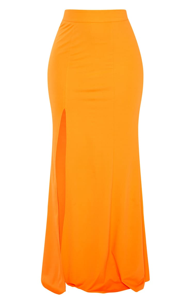 Orange Thigh Split Maxi Skirt 3