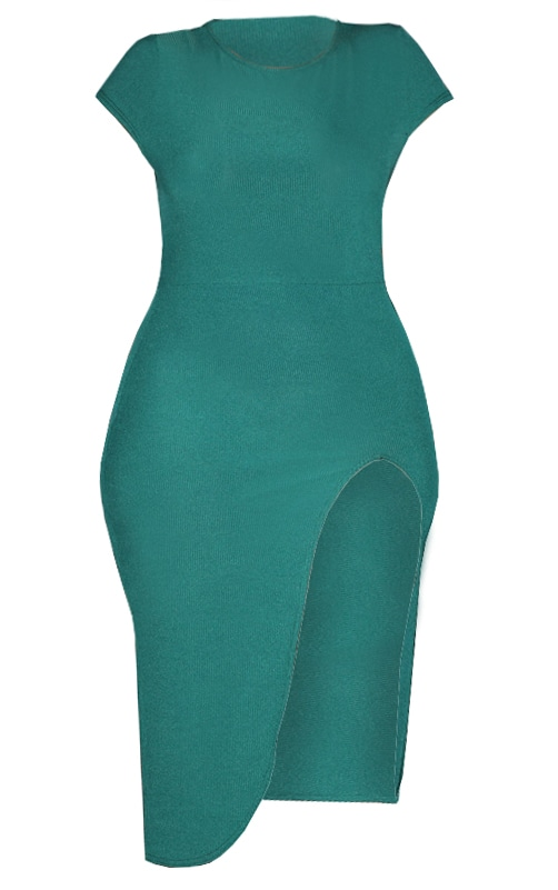 Plus Emerald Green Ribbed Extreme Split Cap Sleeve Midi Dress 3