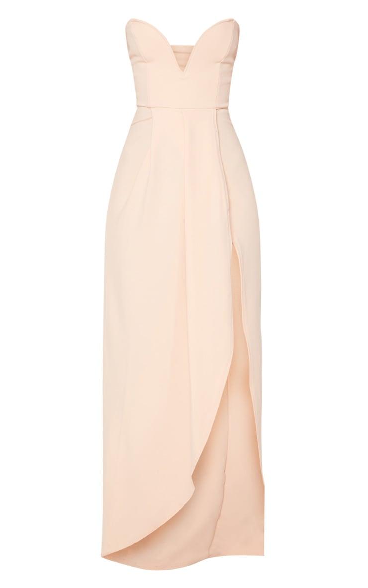Nude Draped Wrap Detail Bandeau Maxi Dress 3