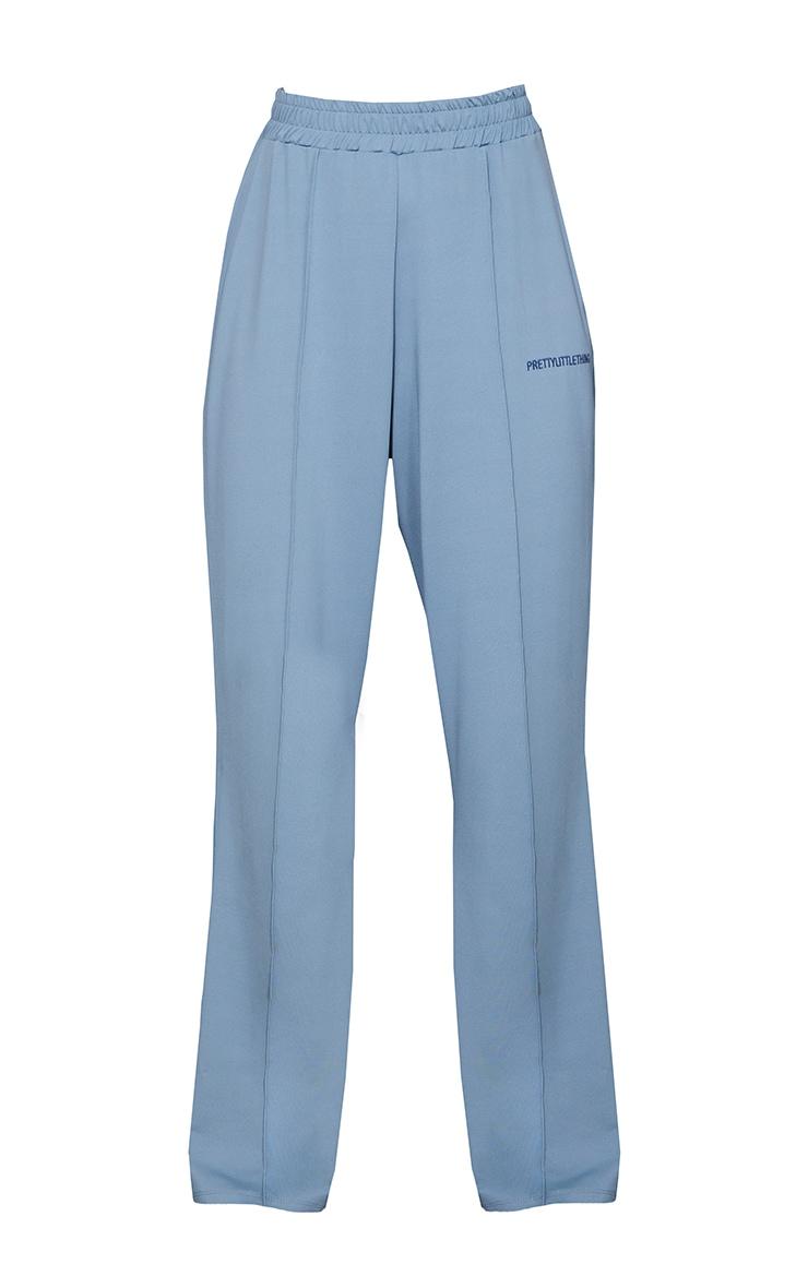 PRETTYLITTLETHING Steel Blue Stretch Scuba Wide Leg Trousers 5
