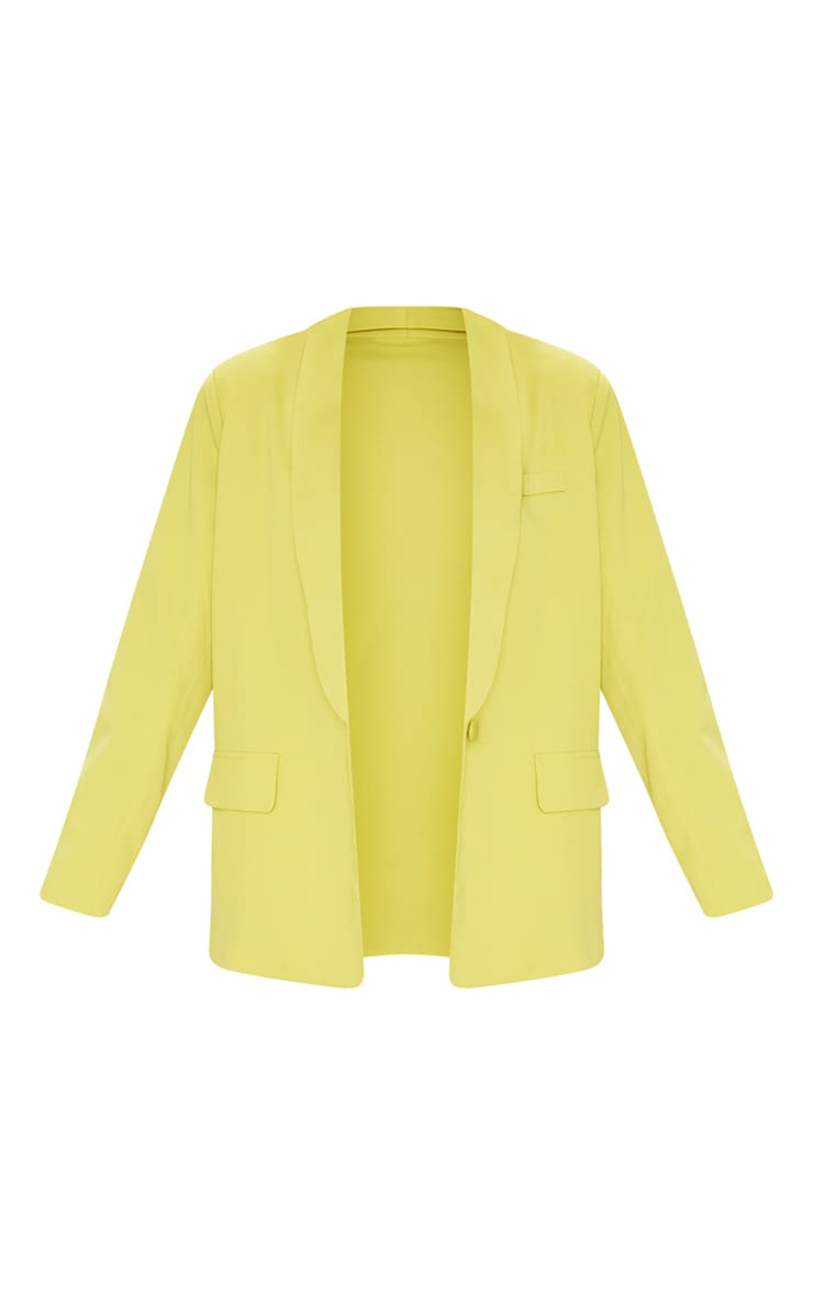 Lime Curved Lapel Woven Longline Blazer 5