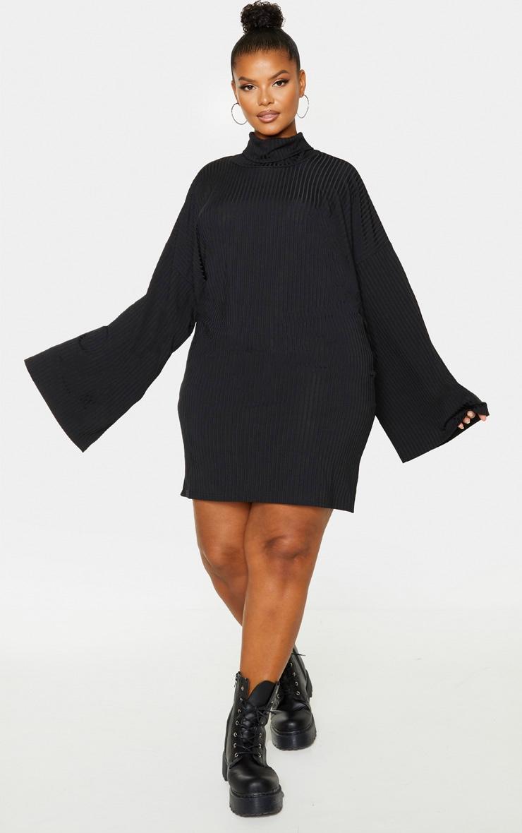 Plus Black Wide Rib High Neck Oversized Jumper Dress 4