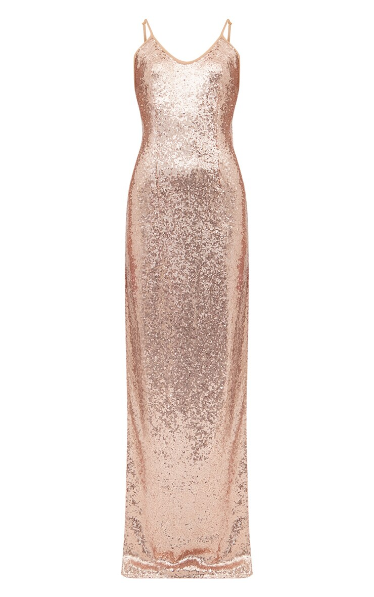 Petite Rose Gold Side Split Sequin Maxi Dress 3
