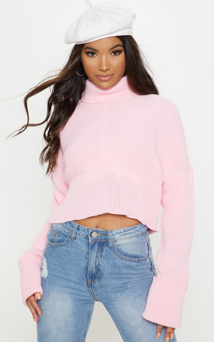 Pink Chunky Ribbed High Neck Knitted Jumper 1