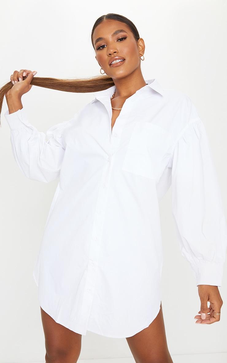 White Pleated Puff Sleeve Shirt Dress image 1