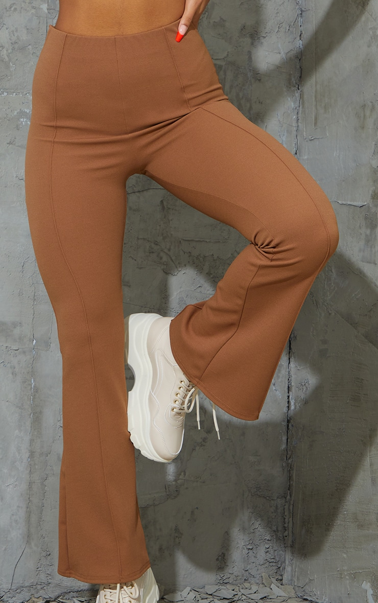Camel Pintuck Detail Flared Trousers 4