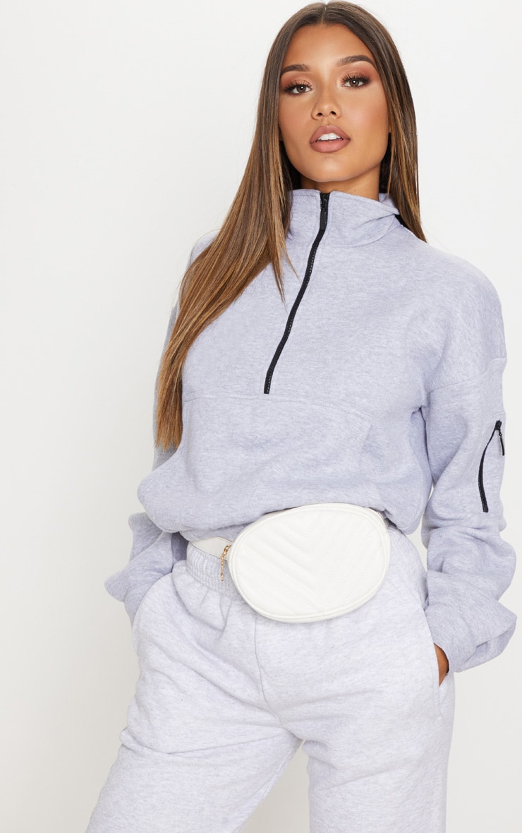 Sweat oversized gris à zip frontal