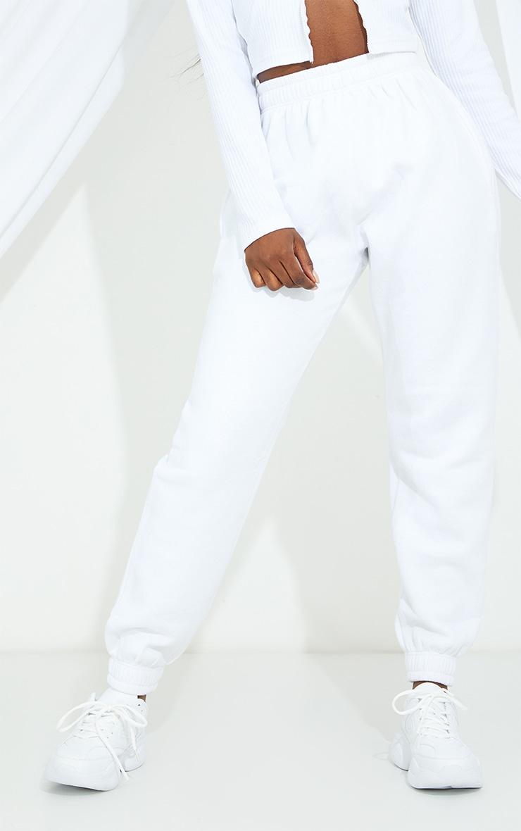 PRETTYLITTLETHING Tall White Diamante Jogger 2