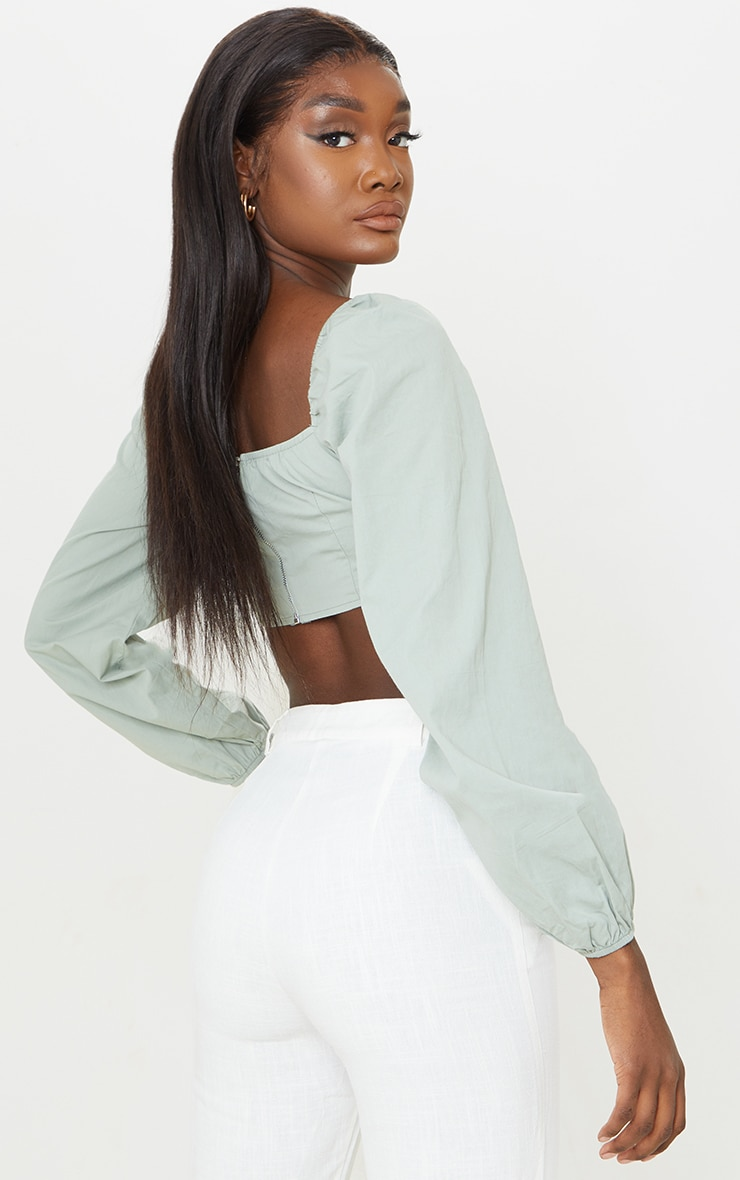 Tall Sage Green Corset Detail Long Sleeve Cropped Blouse 2