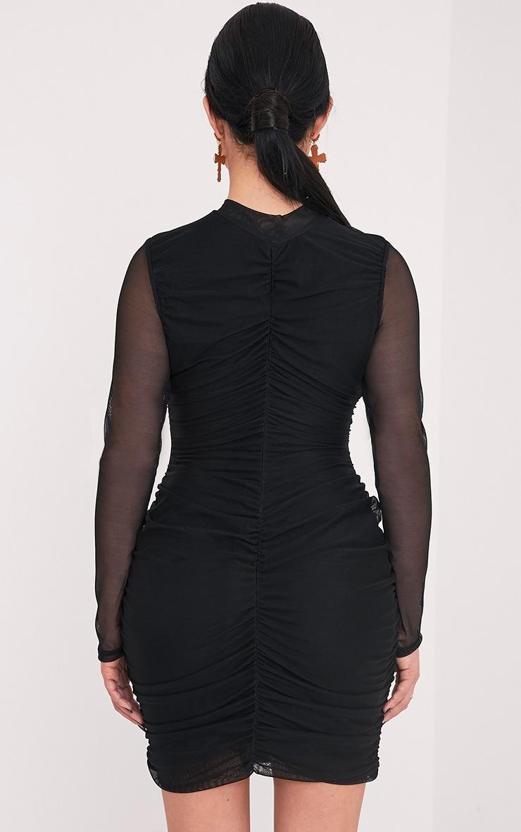 Shape Esemay Black Mesh Ruched Mini Dress 2