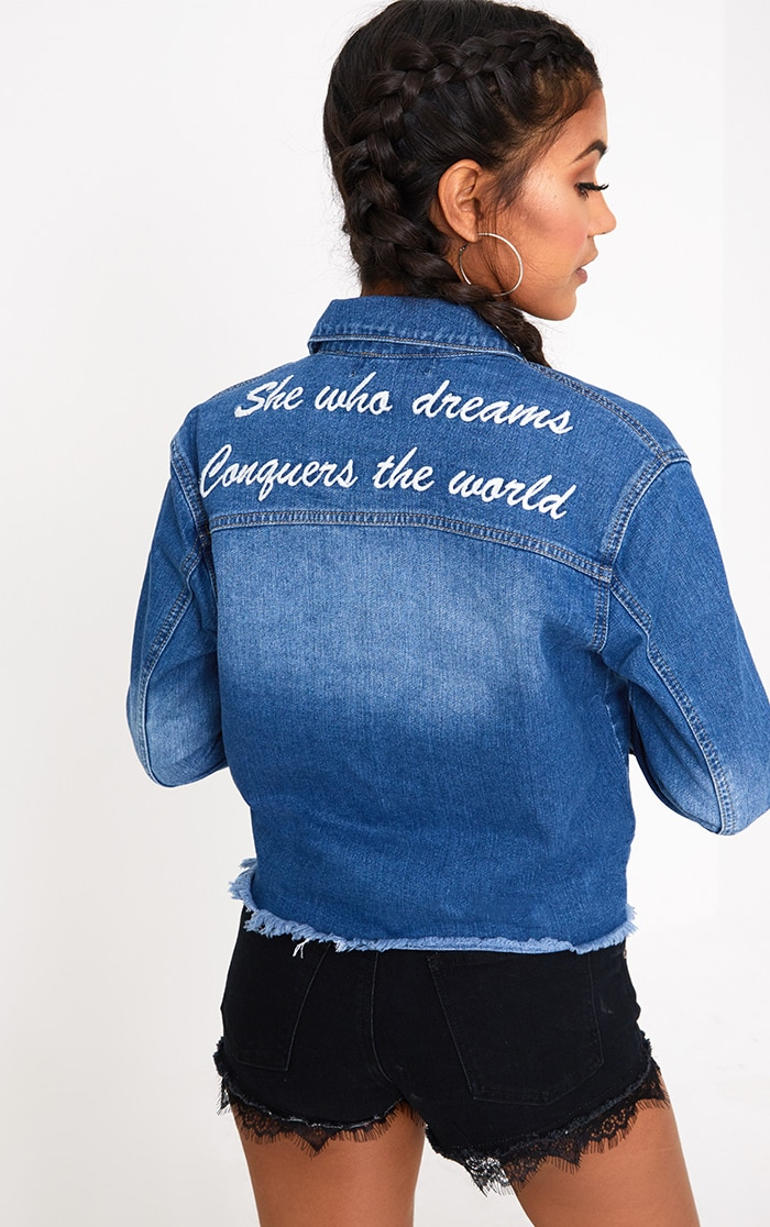 Mid Wash She Who Dreams Slogan Denim Jacket 1