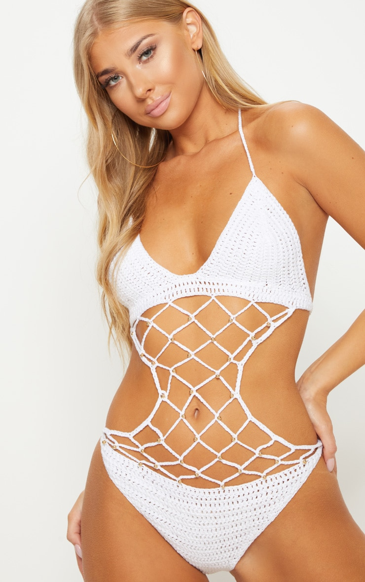 White Crochet Beaded Swimsuit 6