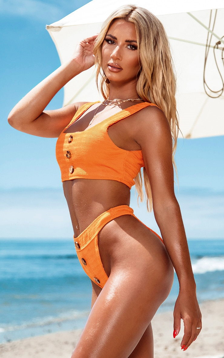 Orange Crinkle Button Down Bikini Bottom 2