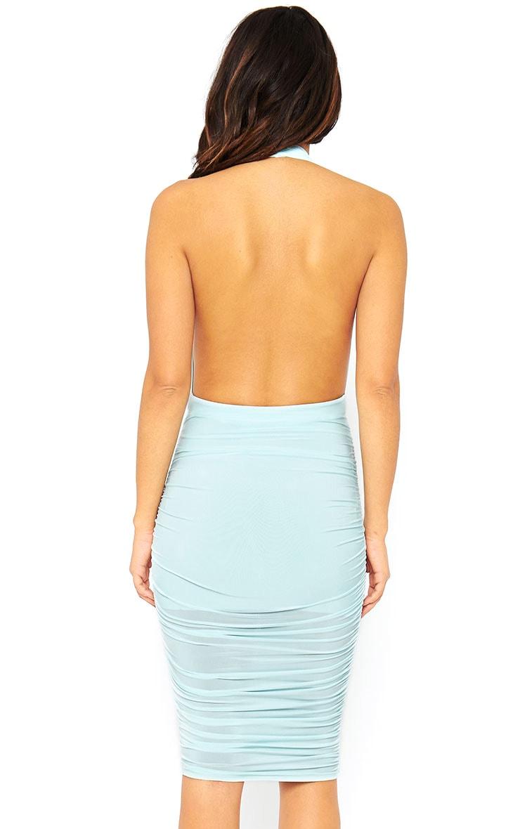 Ambrosia Mint Plunge Neck Ruched Side Dress 2