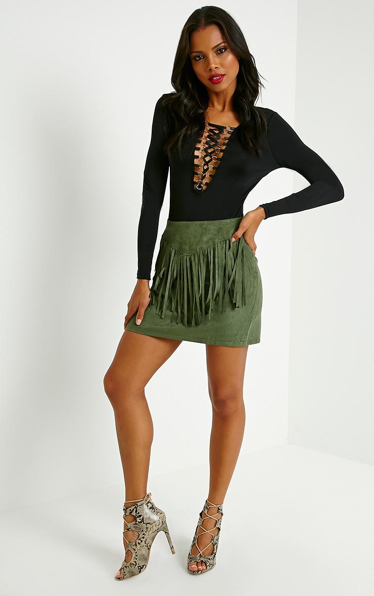 Mariette Khaki Faux Suede Tassel Skirt 5