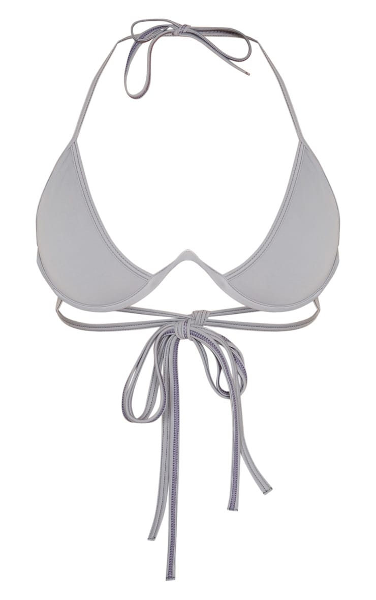 Charcoal Cleavage Wire Detail Bikini Top 2