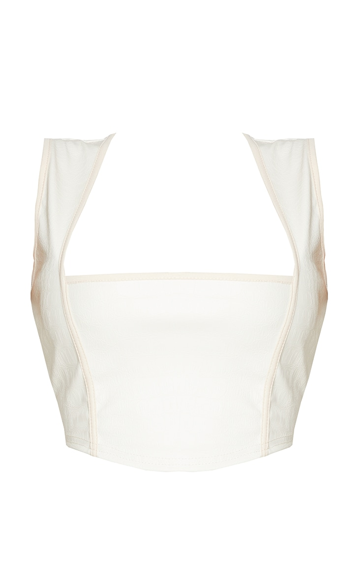 Shape Cream Croc Embossed PU Binding Detail Square Neck Crop Top 5