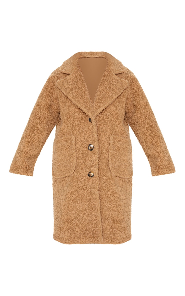 Manteau long camel en imitation peau de mouton 4
