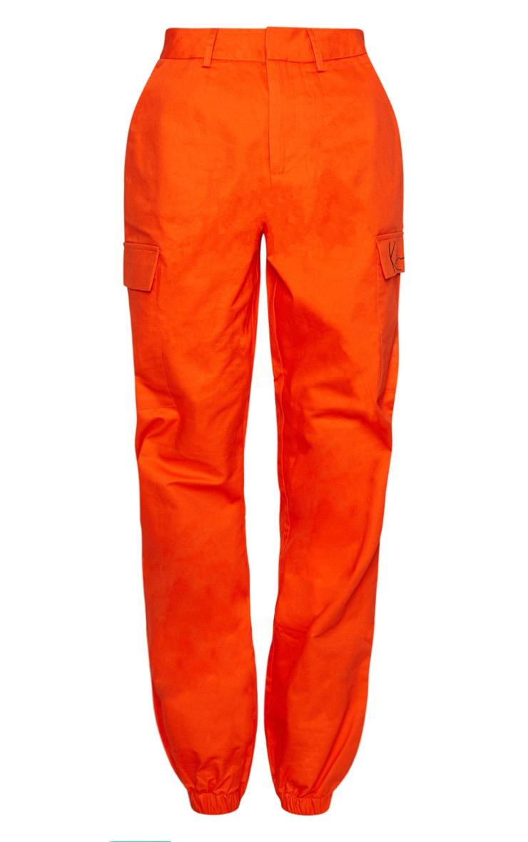 KARL KANI Orange Cargo Trousers 4