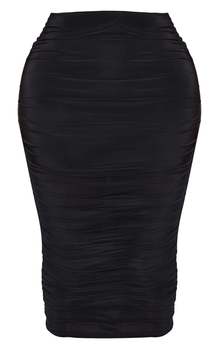 Shape Black Slinky Ruched Midi Skirt 3