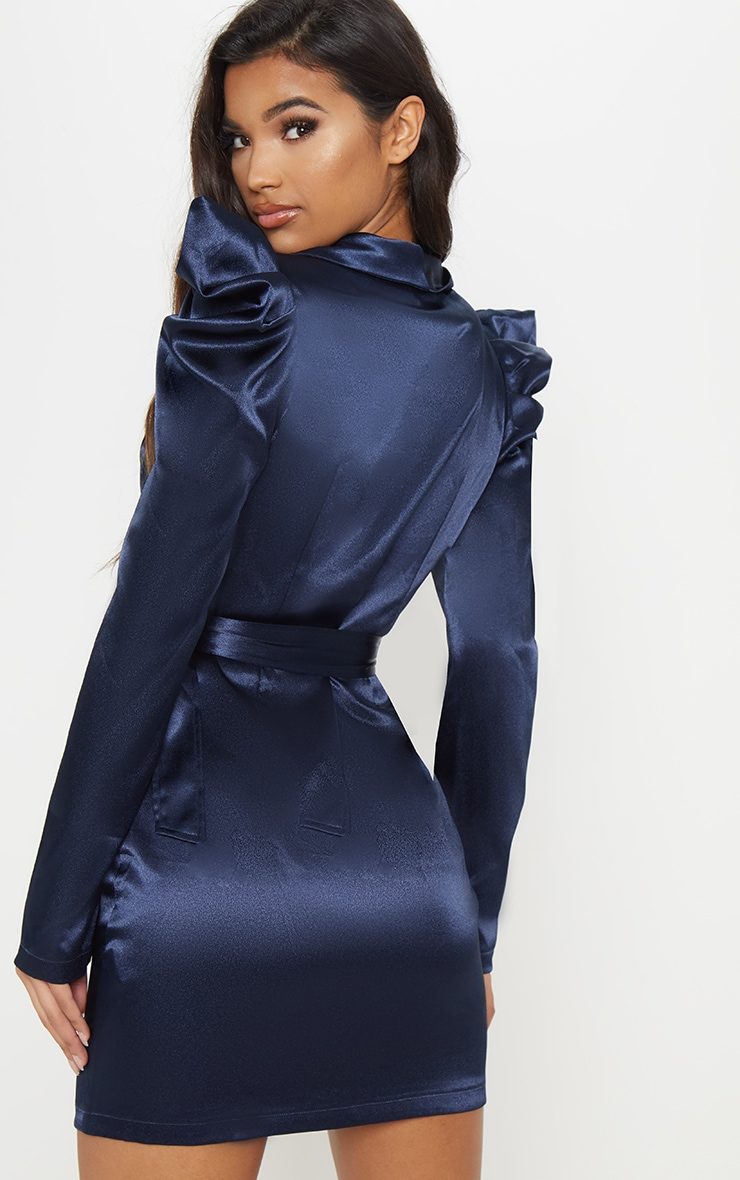 Navy Shoulder Detail Belted Blazer Style Bodycon Dress 2