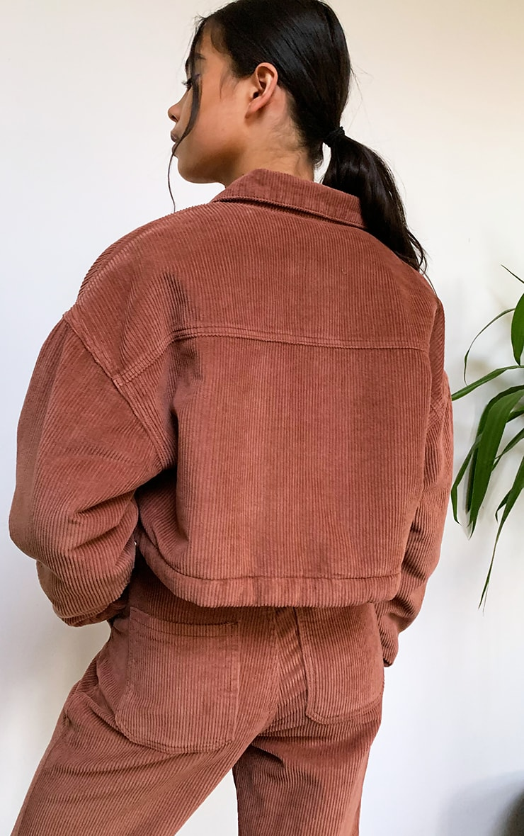 Rust Cord Borg Lined Cropped Trucker Jacket 2