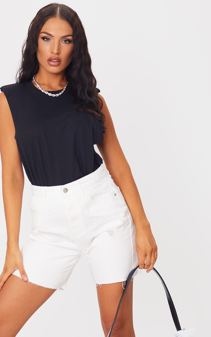 PRETTYLITTLETHING White Ripped Longline Fitted Denim Shorts 4
