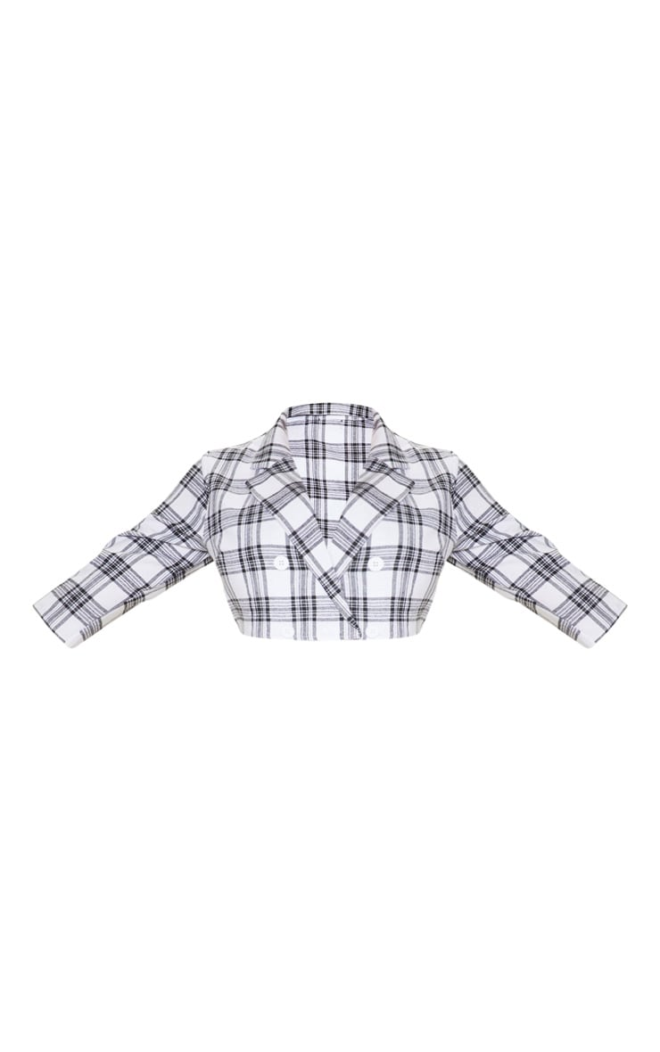 Plus Grey Check Button Detail Shirt Sleeve Crop Top  3