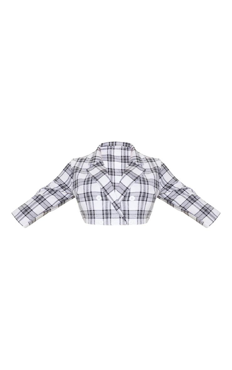 Plus Grey Check Button Detail Shirt Sleeve Crop Top 3
