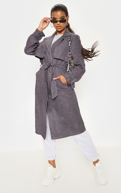 Grey Faux Suede Trench