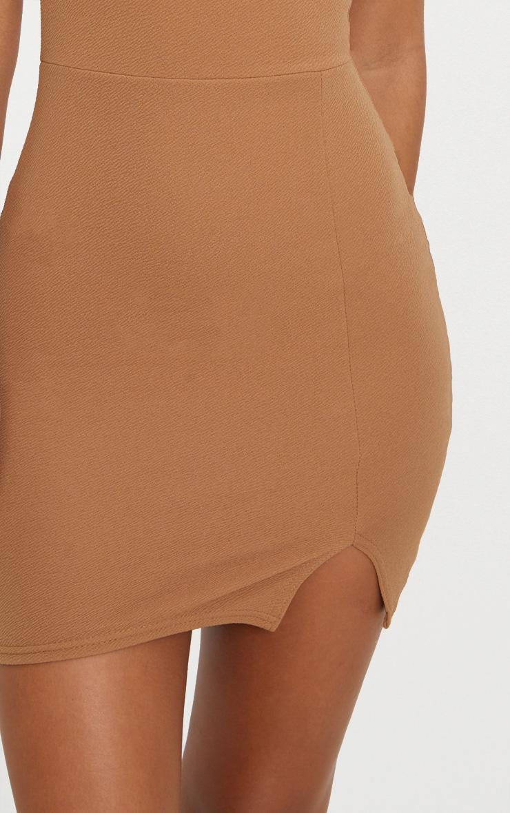 Aniqah Camel High Neck Split Detail Bodycon Dress 4