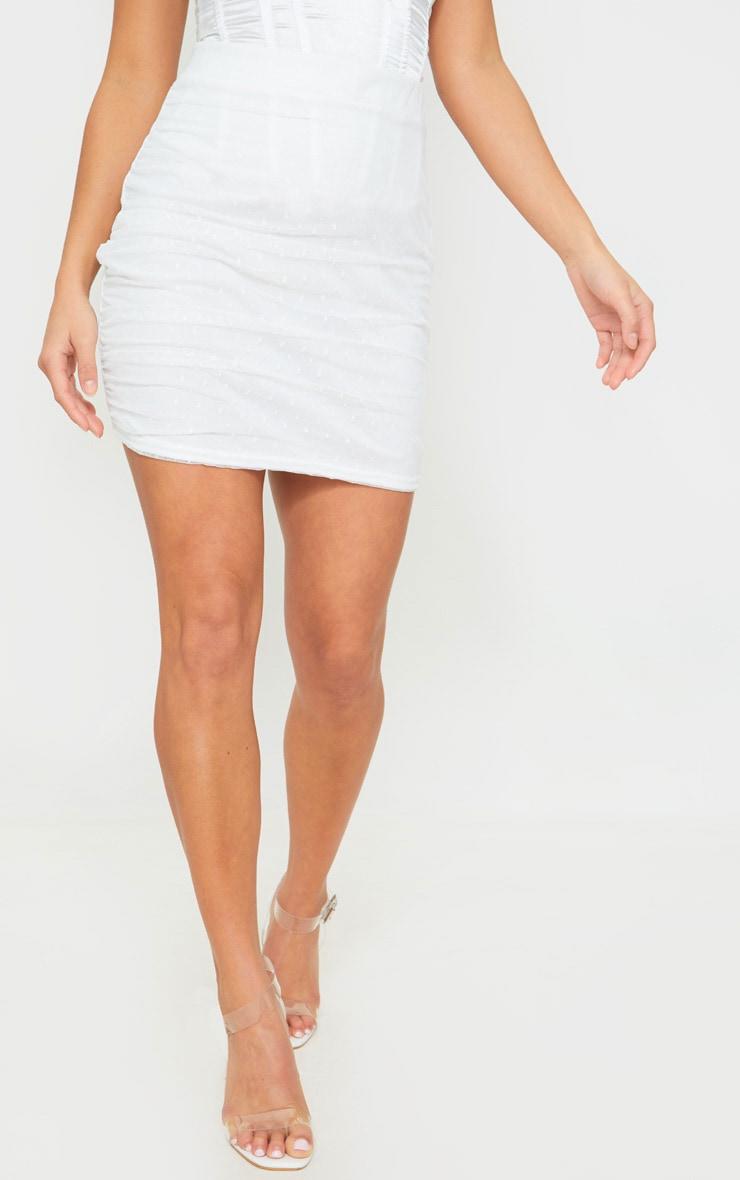 Petite White Oriental Lace Mini Skirt 2