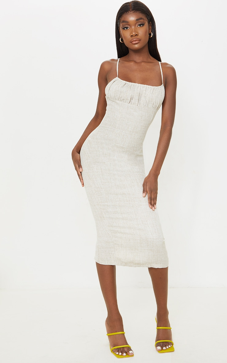 Tall Stone Woven Ruched Bust Detail Strappy Midi Dress 1