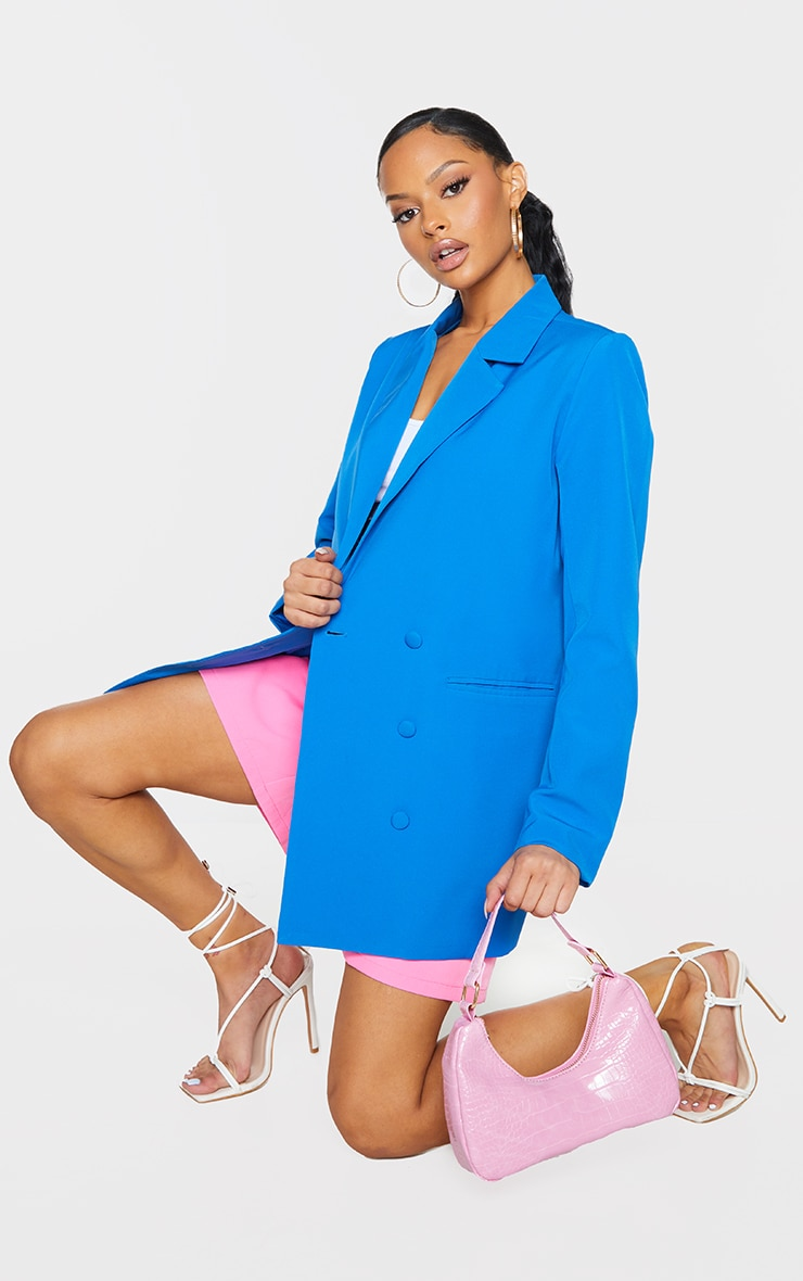 Bright Blue Double Breasted Covered Button Blazer 1