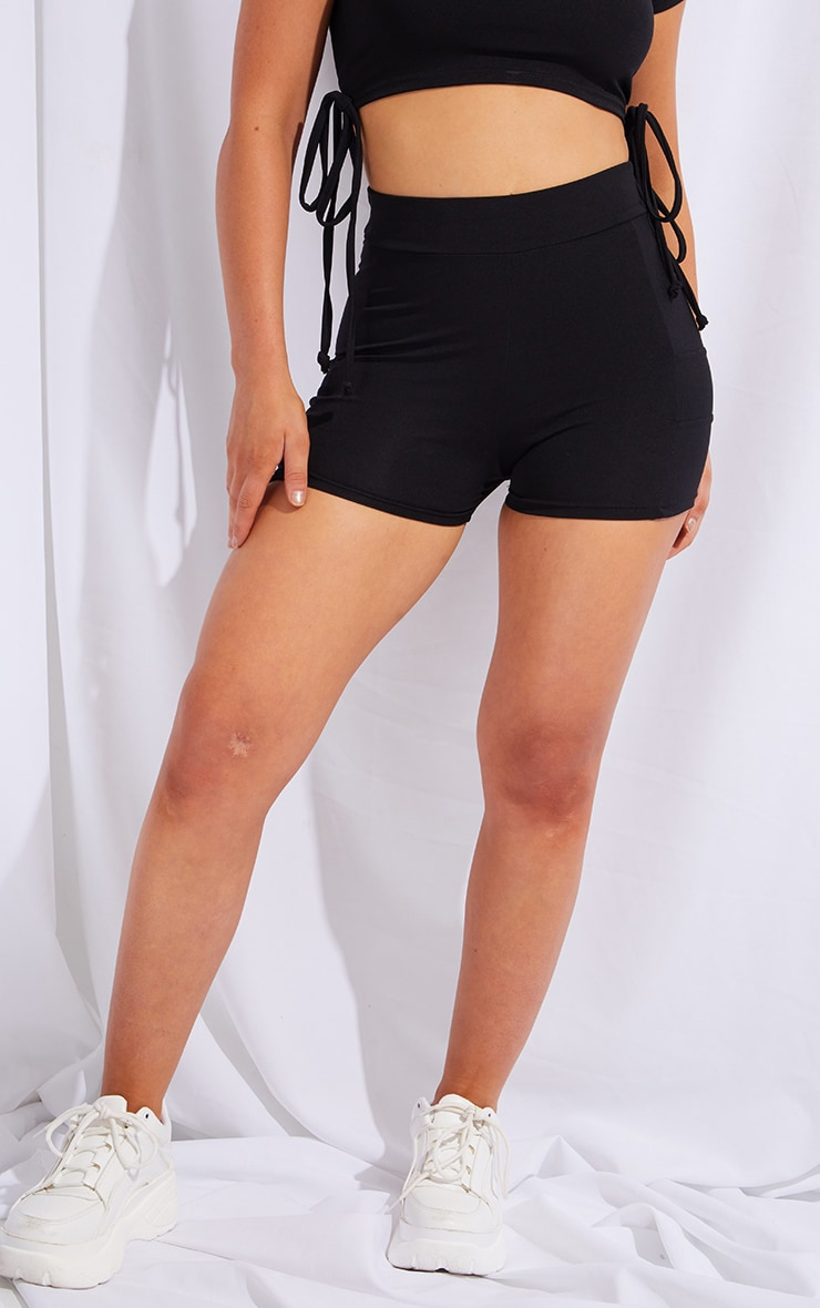 PRETTYLITTLETHING Black Sport Panelled Booty Shorts 2