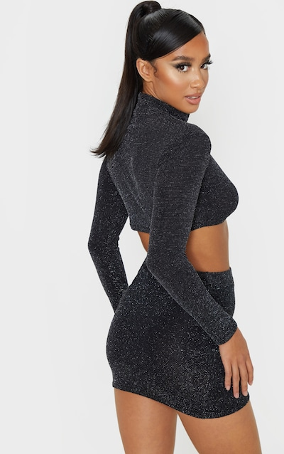 Petite Black Textured Glitter High Neck Long Sleeve Crop Top