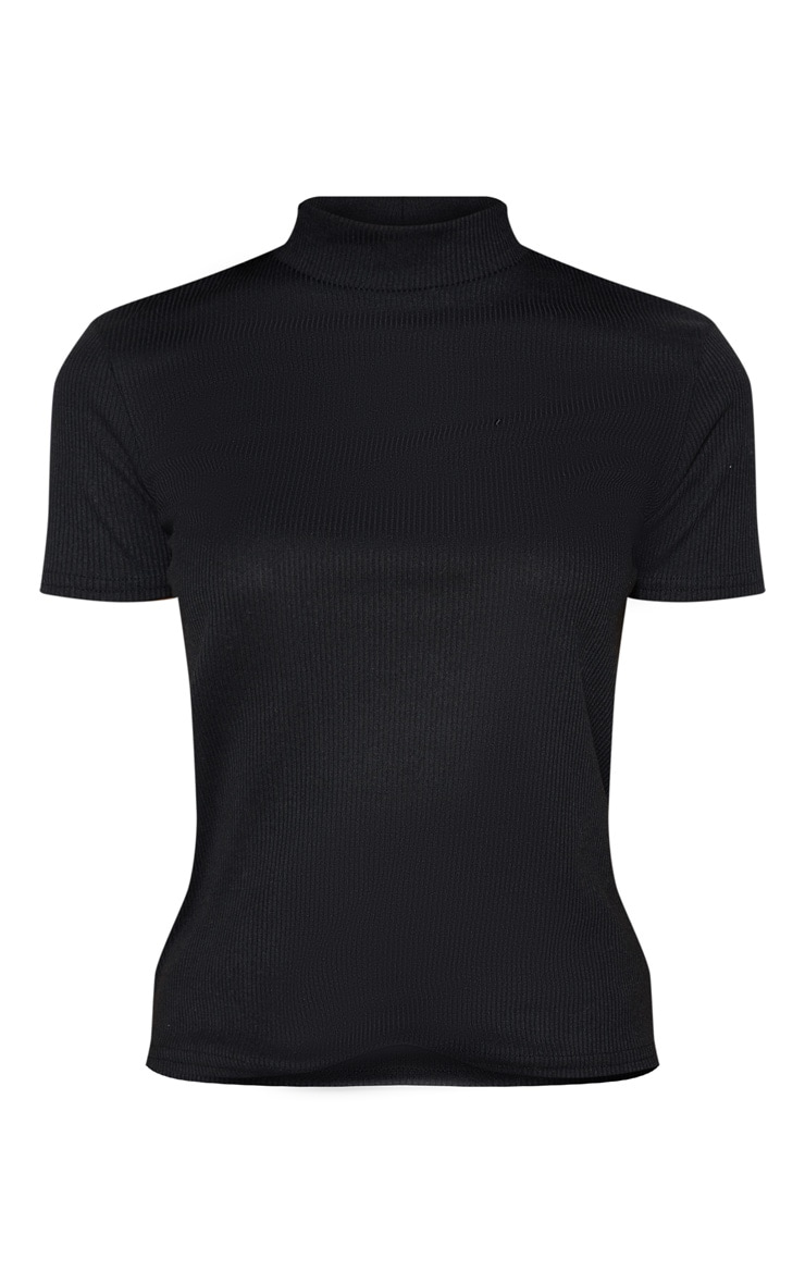 Black Rib High Neck Short Sleeve Top 5