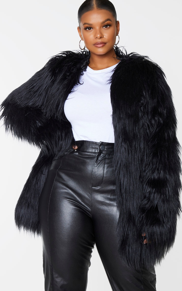 Plus Amaria Black Shaggy Faux Fur Jacket 1