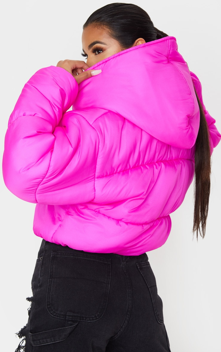 Hot Pink Double Layer Cropped Hooded Puffer 2