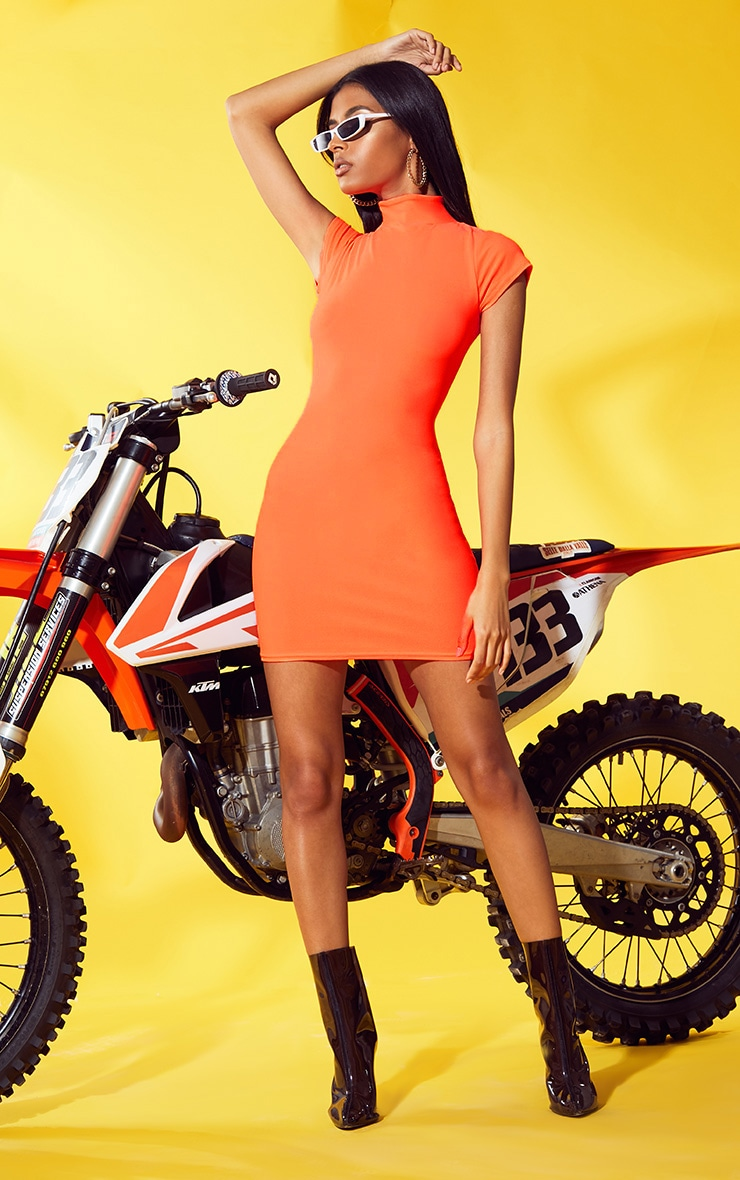 Neon Orange Short Sleeve Bodycon Dress 1