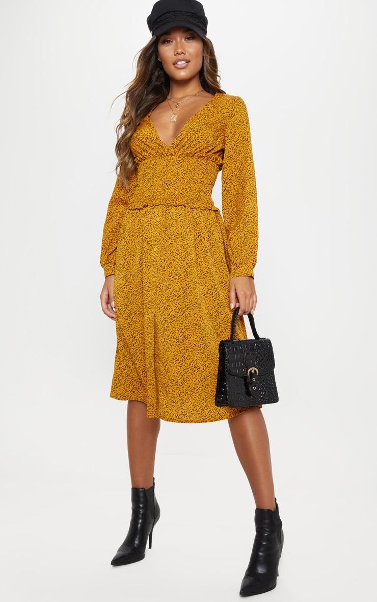 Mustard Floral Print V Neck Shirred Panel Midi Dress 4